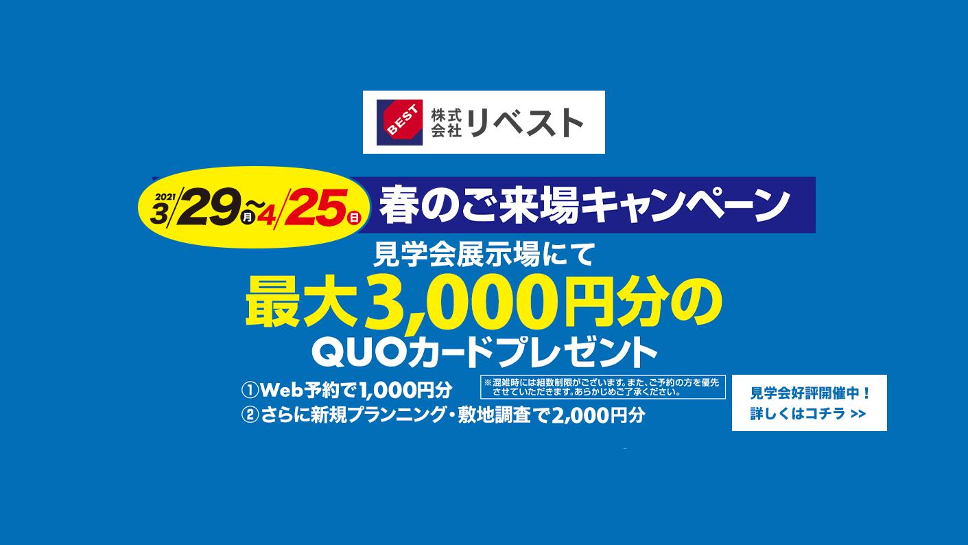春のご来場キャンペーン 最大3,000円分のQUOカードプレンゼント!